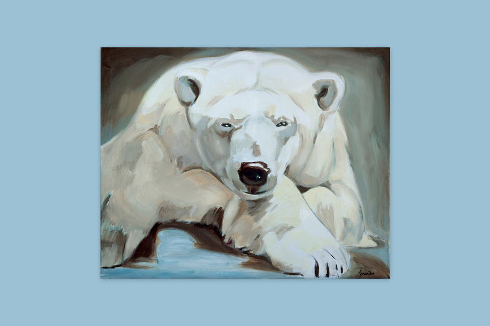 Reprographie Virginie Assandri, peinture d'ours blanc.