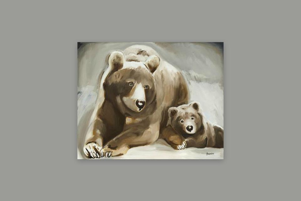 Reprographie Virginie Assandri, peinture d'ours bruns.
