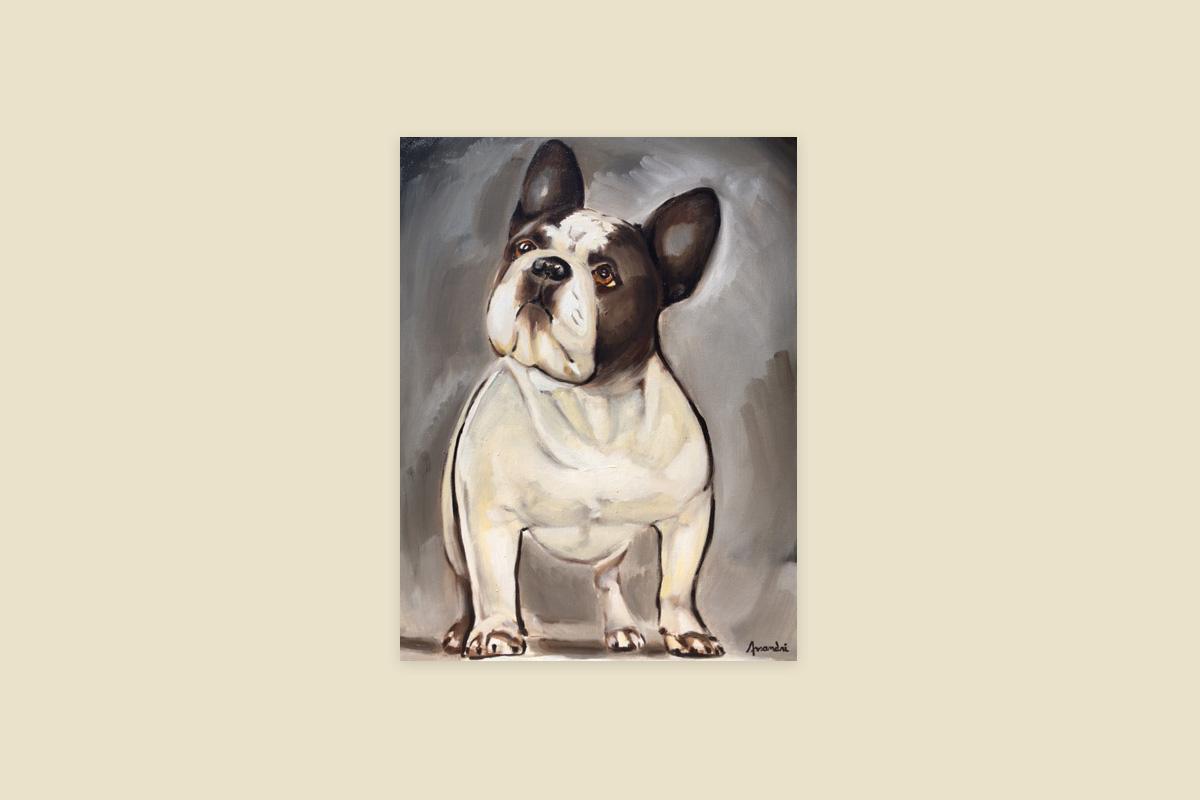 Toile originale Virginie Assandri, peinture de chien.