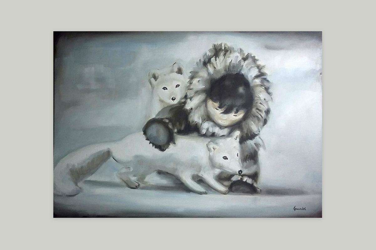 Toile originale Virginie Assandri, peinture d'inuit et renards blancs.