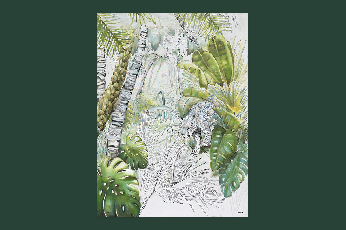 Toile originale Virginie Assandri, peinture de jungle.