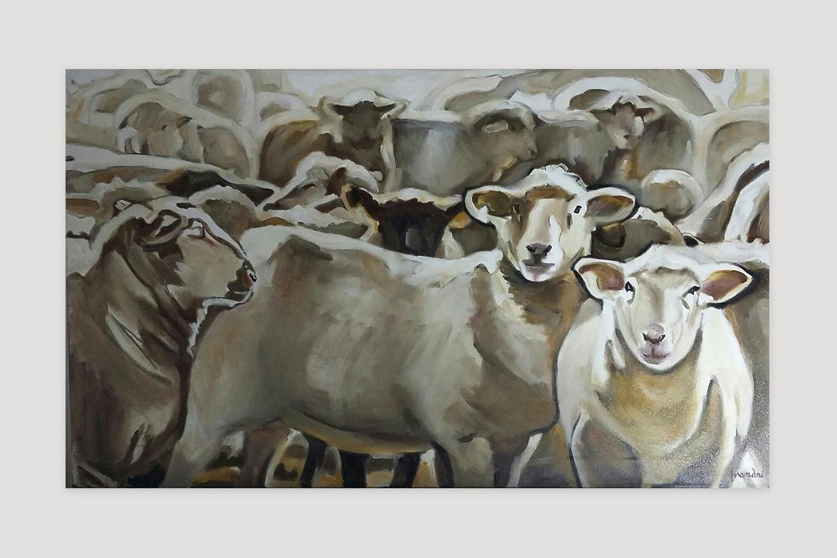 Toile originale Virginie Assandri, peinture de moutons.