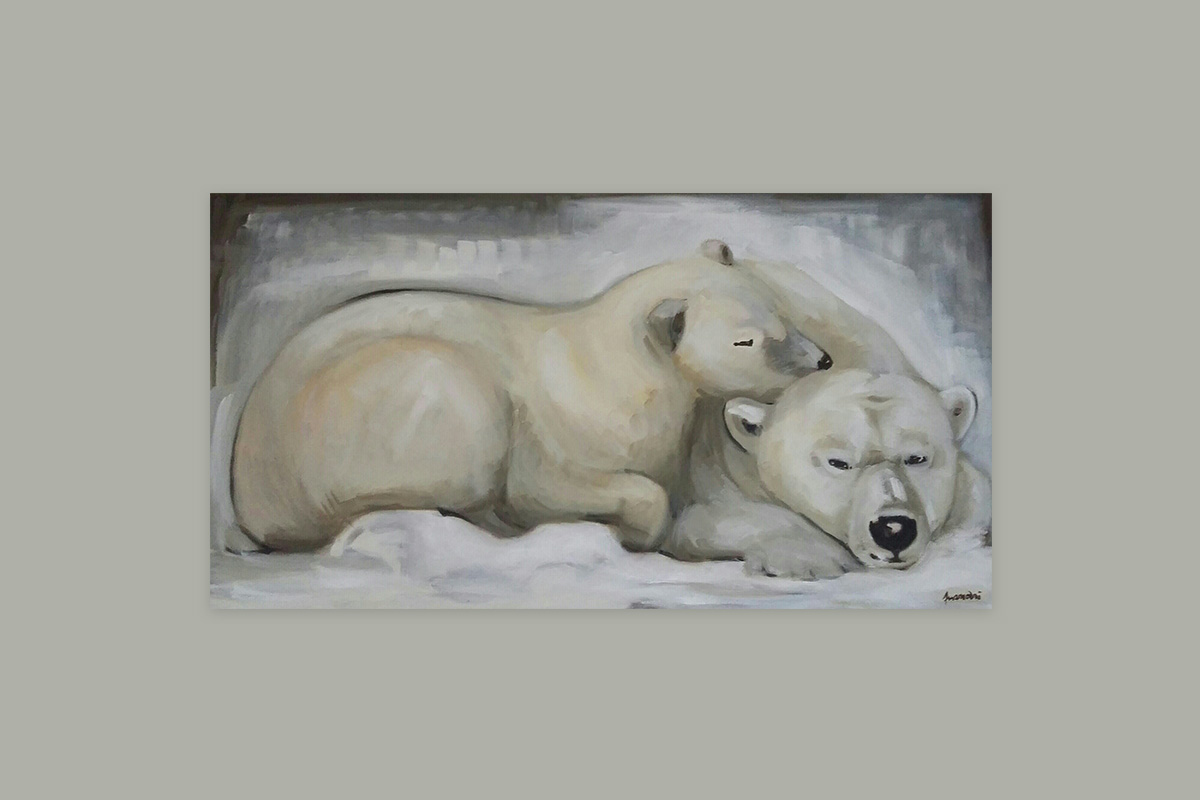 Toile originale Virginie Assandri, peinture d'ours blancs.
