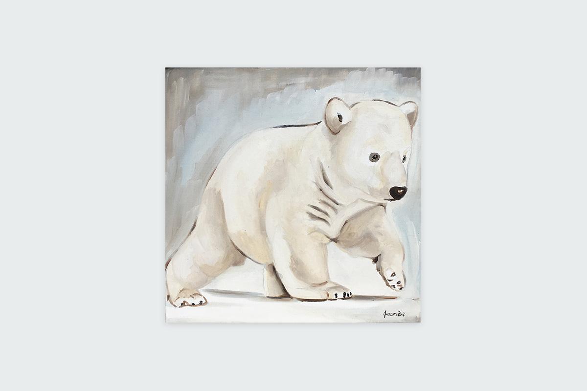 Toile originale Virginie Assandri, peinture d'ourson polaire.