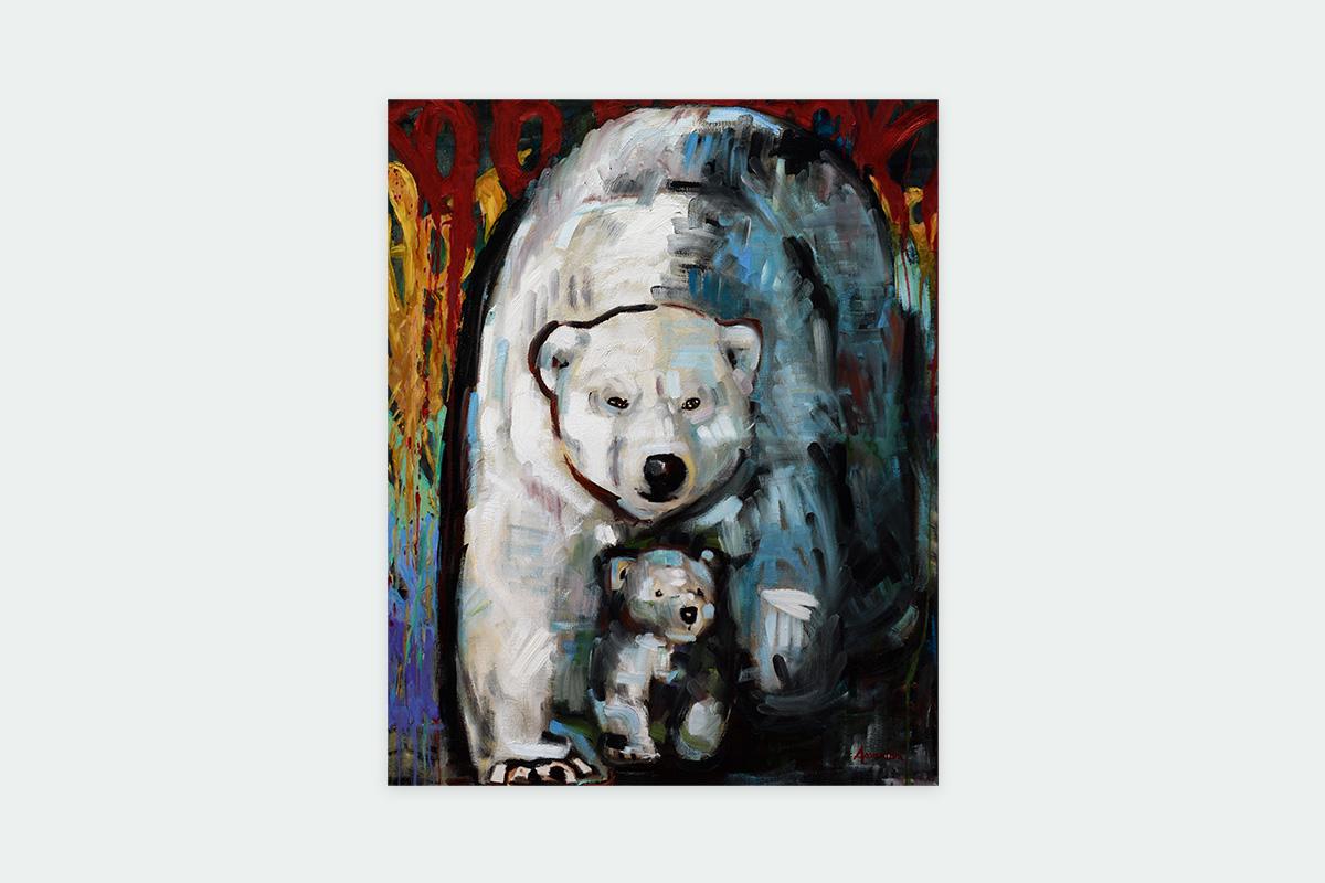 Toile originale Virginie Assandri, peinture d'ours blanc.