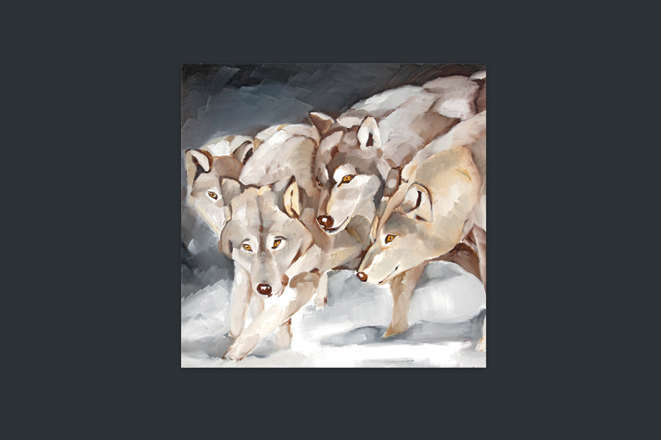 Reprographie Virginie Assandri, peinture de loups.