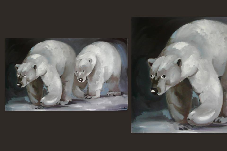 Reprographie Virginie Assandri, peinture d'ours polaires.