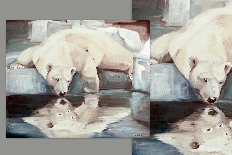 Reprographie Virginie Assandri, peinture d'ours polaire.