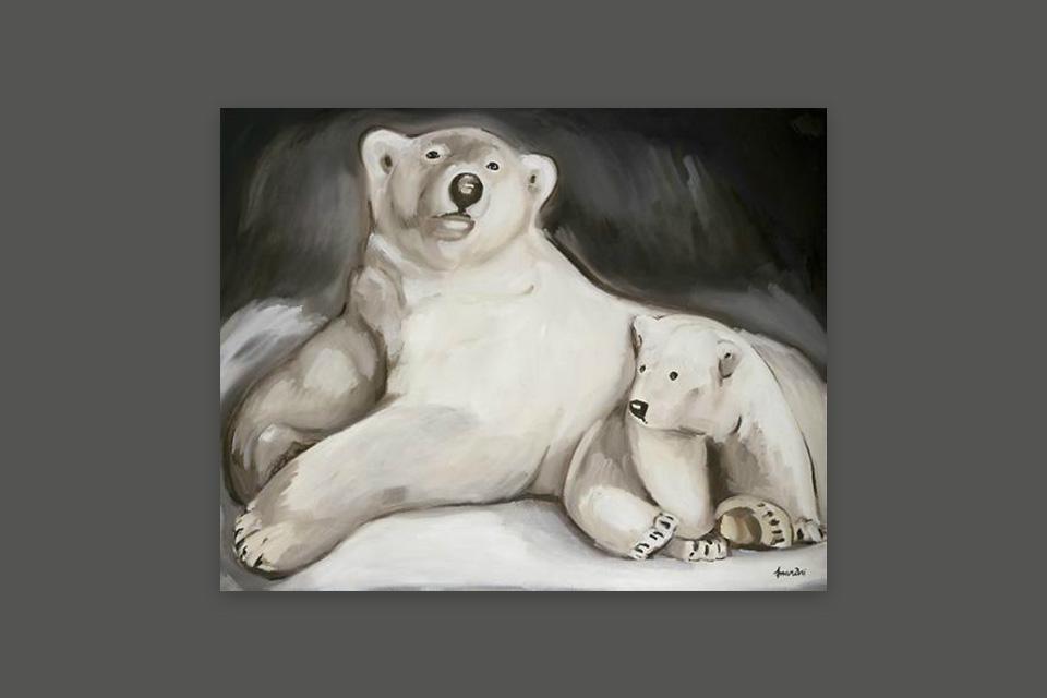 Reprographie Virginie Assandri, peinture d'ours blancs.