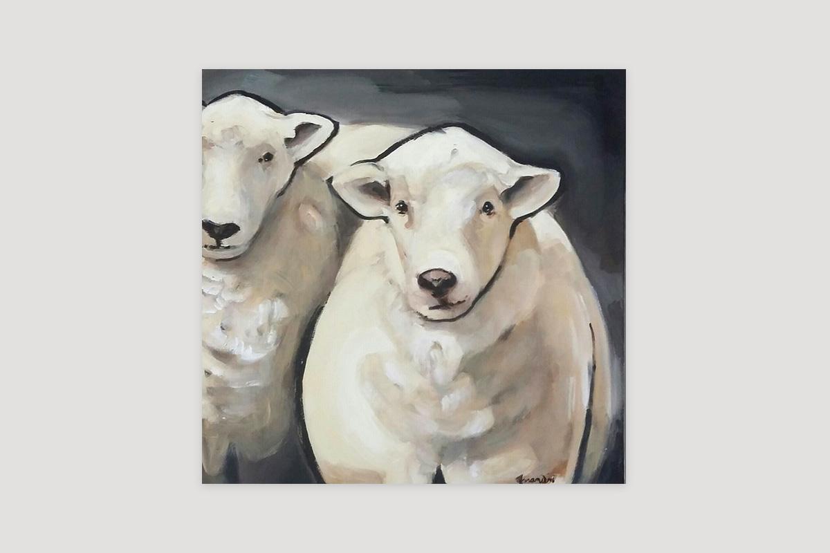Toile originale Virginie Assandri, peinture de mouton.