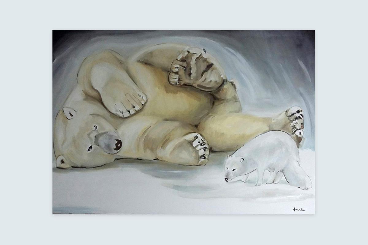 Toiles originales Virginie Assandri, peintures d'ours et d'animaux de froid et de montagne.