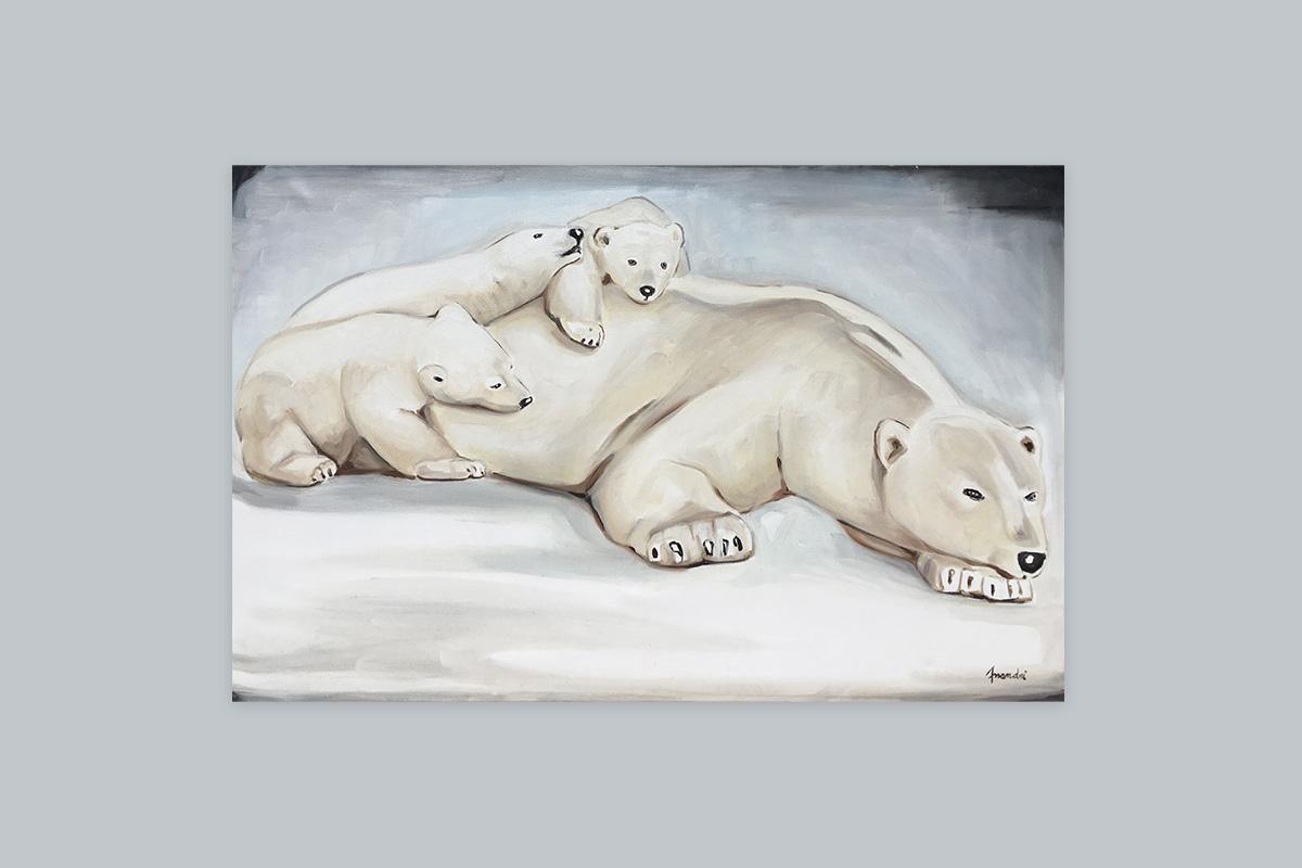 Toile originale Virginie Assandri, peinture d'ours polaires.