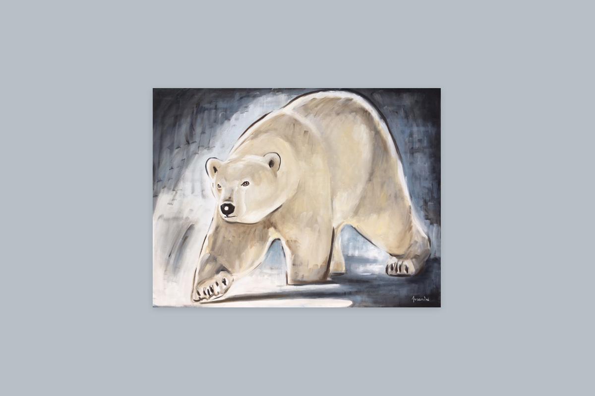 Toile originale Virginie Assandri, peinture d'ours polaire.