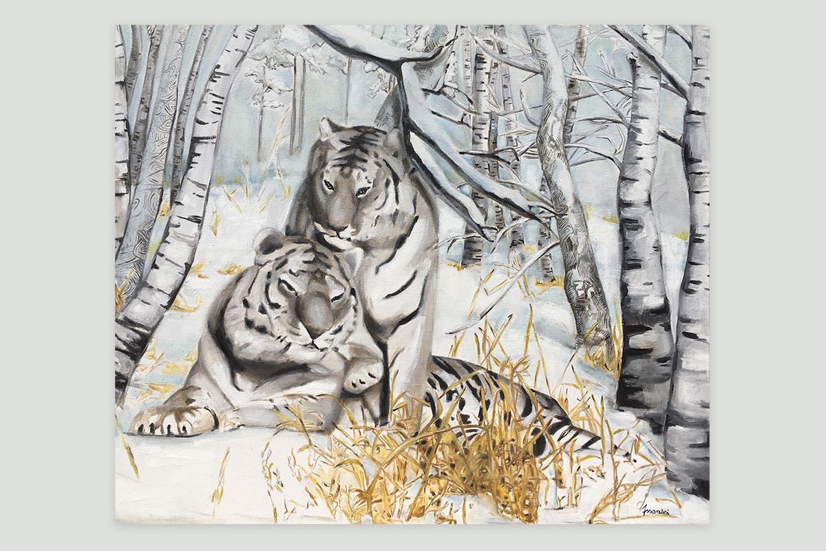 Toile originale Virginie Assandri, peinture de tigres polaires.