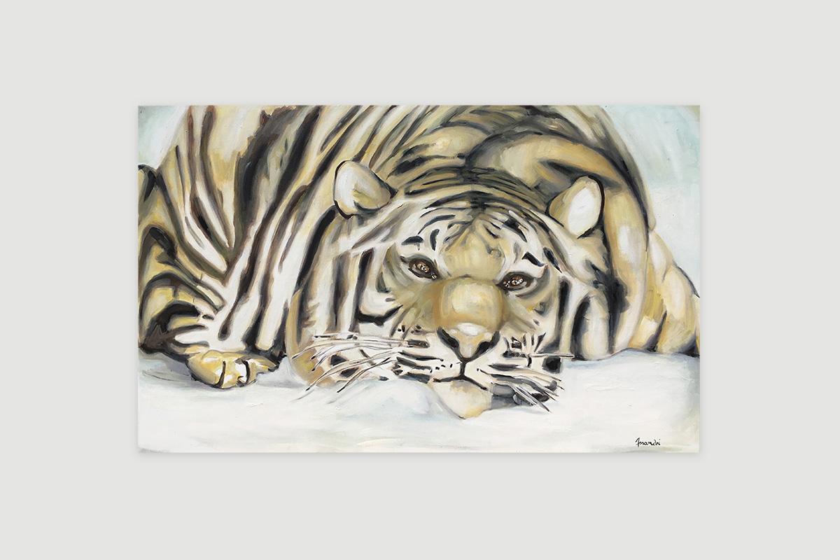 Toile originale Virginie Assandri, peinture de tigre polaire.